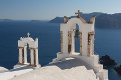 Traditional church in Cyclades style, Oia village Stock Images