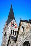 Traditional church in Hallstatt, Austria. The steeple of the Protestant church in Hallstatt, Salzkammergut Austria royalty free stock photo