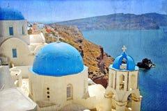 A traditional church in Oia, Santorini, Greece Stock Photography