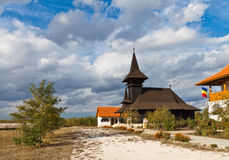 Traditional church in Romania. Black church near City Island, Romania Royalty Free Stock Image