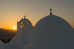 Traditional church saint Antony in Paros island against the sunset. Stock Photography