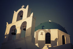 Traditional church in Santorini, Greece-vintage colors Royalty Free Stock Photography