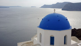 Traditional church in small village oia on santorini Stock Images