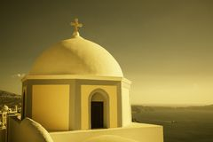 Traditional church in Thira, Santorini, Greece Royalty Free Stock Photo