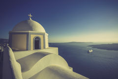 Traditional church in Thira, Santorini, Greece Royalty Free Stock Images