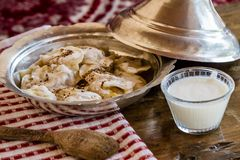 Traditional Circassian Ravioli Made with Potatoes. On traditional plate Stock Photography