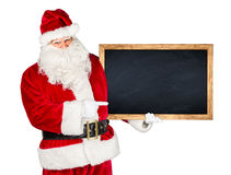 Traditional classic red white santa claus blackboard Royalty Free Stock Images