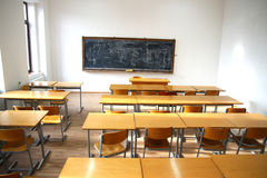 Traditional classroom interior with blackboard Stock Photos