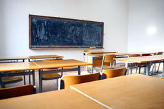 Traditional classroom interior with blackboard Royalty Free Stock Photography