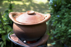 Traditional clay pot cooking Stock Photography