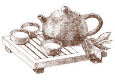 Traditional clay pot and pialats set for Chinese tea ceremony. Hand drawn illustration tea tray and pottery for traditional oriental tea party in vintage style Stock Photography