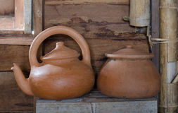 traditional clay pot and tea pot Royalty Free Stock Image
