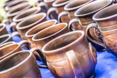 Traditional clay pots of manual work Royalty Free Stock Image