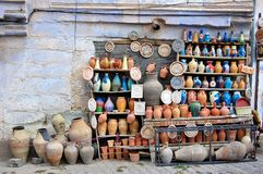 Traditional clay pottery for sale Royalty Free Stock Image