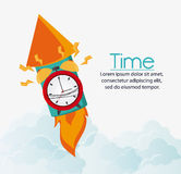 Traditional clock firework and time design Stock Image