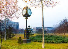 Traditional clock in Parcul Unirii park, Bucharest Royalty Free Stock Image
