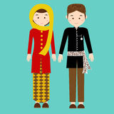 Traditional clothes betawi jakarta indonesia ethnic cloth vector couple pakaian adat Stock Photo
