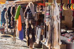 Traditional clothes and furs royalty free stock images