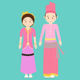 Traditional clothes nusa tenggara barat indonesia ethnic cloth vector couple pakaian adat Royalty Free Stock Images