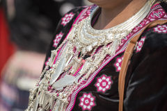 Traditional clothes and silver jewelery of Muser hill tribe Stock Photo