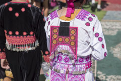 Traditional clothes and silver jewelery of Muser hill tribe. Royalty Free Stock Photo