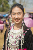 Traditional clothes and silver jewelery of Muser hill tribe. DOI MUSER, TAK PROVINCE, THAILAND – FEBUARY  8, 2015 : Unidentified Hmong hill tribe woman in Royalty Free Stock Photo