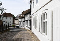 Traditional cobbled street,  Aylesbury, Buckinghamshire. Tudor houses in Aylesbury town centre Royalty Free Stock Photos