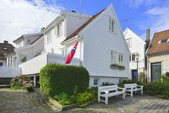 Traditional cobblestone street with wooden houses in the old town of Stavanger, Norway Stock Photography