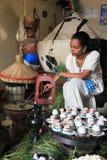 Traditional coffee ceremony ethiopia. Woman performing a traditional coffee ceremony, in addis abeba, ethiopia Royalty Free Stock Image