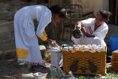 Traditional coffee ceremony in Ethiopia. The traditional coffee ceremony in Ethiopia Stock Images