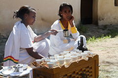 Traditional coffee ceremony in Ethiopia. The traditional coffee ceremony in Ethiopia Stock Photos