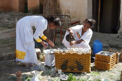 Traditional coffee ceremony in Ethiopia. The traditional coffee ceremony in Ethiopia Stock Photography