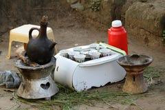 Traditional coffee ceremony in Ethiopia. The Traditional coffee ceremony in Ethiopia Royalty Free Stock Photo