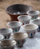 Traditional coffee cups in Ethiopia. Traditional coffee cups for ceremony in Ethiopia Stock Photography