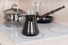 Traditional Coffee Pot on Stove Top Stock Photography