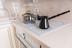 Traditional Coffee Pot on Stove Top Royalty Free Stock Image