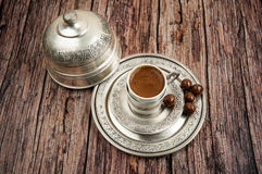 Traditional coffee serving set Stock Photography