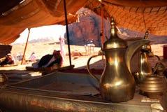 Traditional coffee and tea pot. Inside a Jordanian bedouin tent in Wadi Rum, Jordan Royalty Free Stock Photo