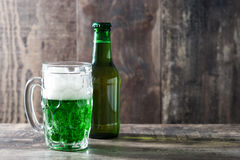 Traditional cold green beer for Saint Patrick`s Day. Copyspace. Stock Photo