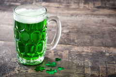 Traditional cold green beer for Saint Patrick`s Day. Copyspace. Royalty Free Stock Photography