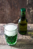 Traditional cold green beer for Saint Patrick`s Day. Copyspace. Royalty Free Stock Images