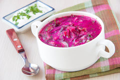 Traditional cold Lithuanian summery soup made of beets, cucumber Royalty Free Stock Photography