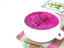 Traditional cold Lithuanian summery soup made of beets, cucumber Stock Images