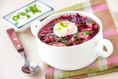 Traditional cold Lithuanian summery soup made of beets, cucumber Royalty Free Stock Images