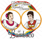 Traditional Colombian Bambuco Dancers and Flags for Folkloric Festival Event, Vector Illustration Royalty Free Stock Photography