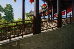 Traditional colonade in sunny summer morning,China. Traditional colonnade in sunny summer morning,Pingle town,Sichuan,China Stock Photo