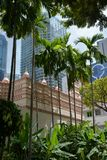 Singapore, old city houses facades and modern architecture Royalty Free Stock Photos