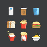 Traditional color food icons Stock Images