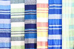 ..Traditional colored fabrics in the Indian market Stock Images