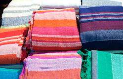 Traditional colored fabrics in the Indian Stock Images